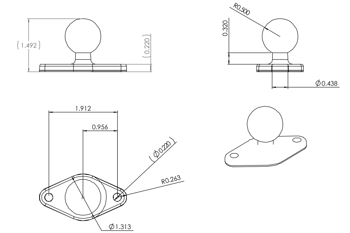 Ram Diamond Mount Technical Drawing