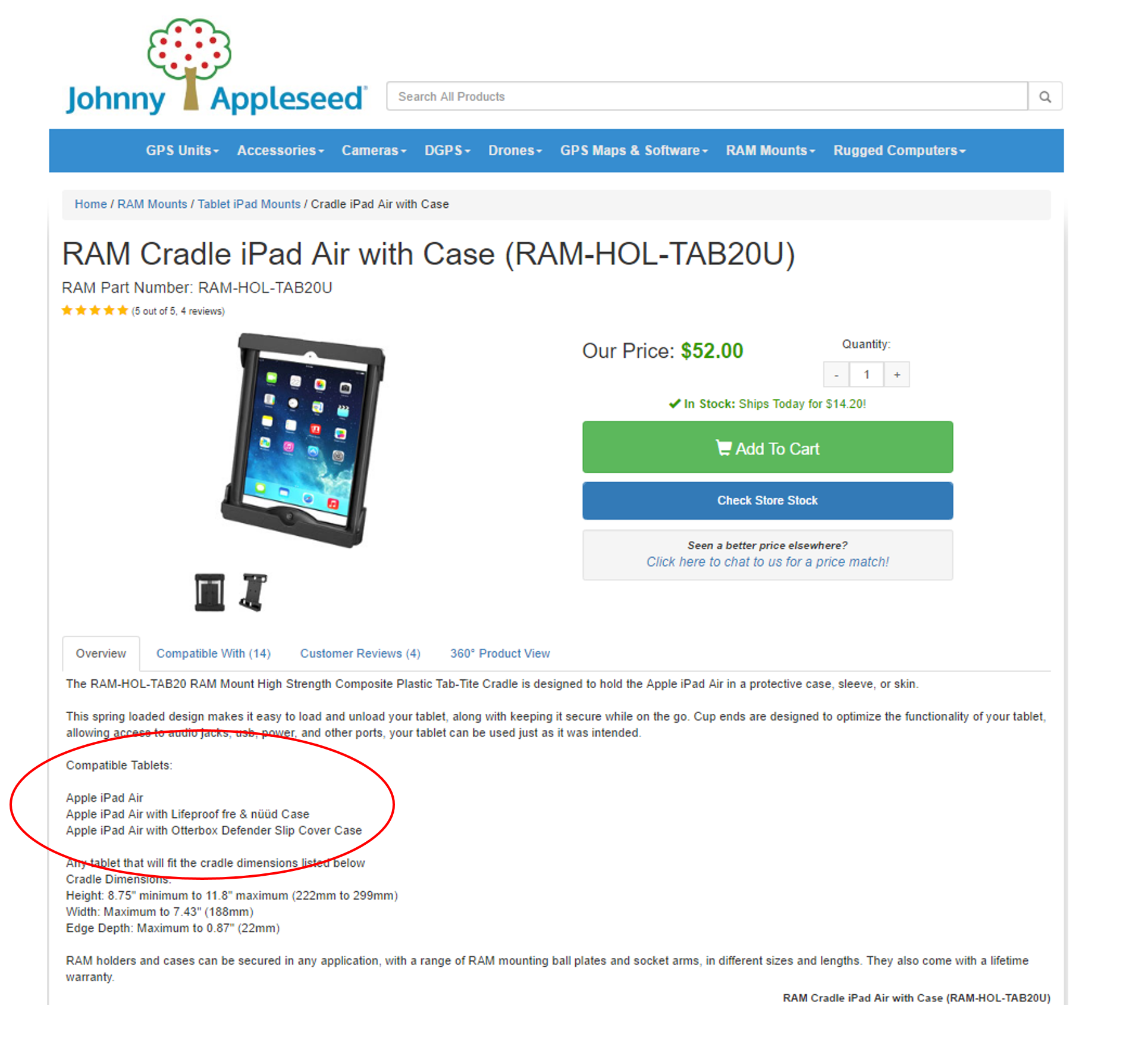 RAM Cradle Ipad Air