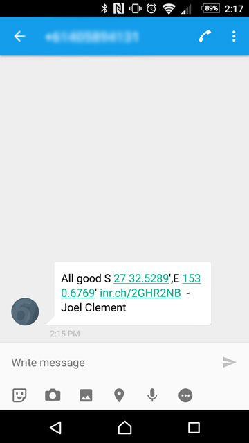 Message received from InReach