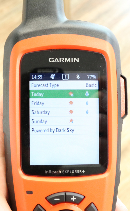 InReach Explorer+ Basic Weather Display
