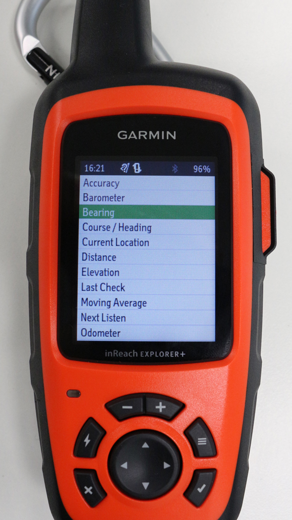 InReach Explorer+ Trip Info options