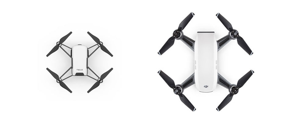 DJI Tello and DJI Spark Size Comparison