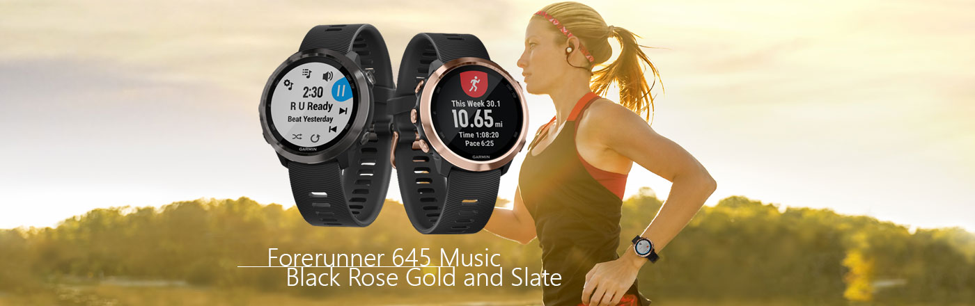 forerunner 645 Music Black Rose Gold and Slate Grey