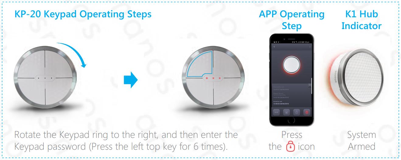 Smanos Keypad Arm Control