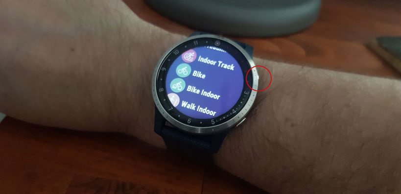 Activity Menu on Garmin vivoactive 4